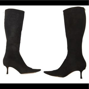 Jimmy Choo suede knee high heeled boots with flaws